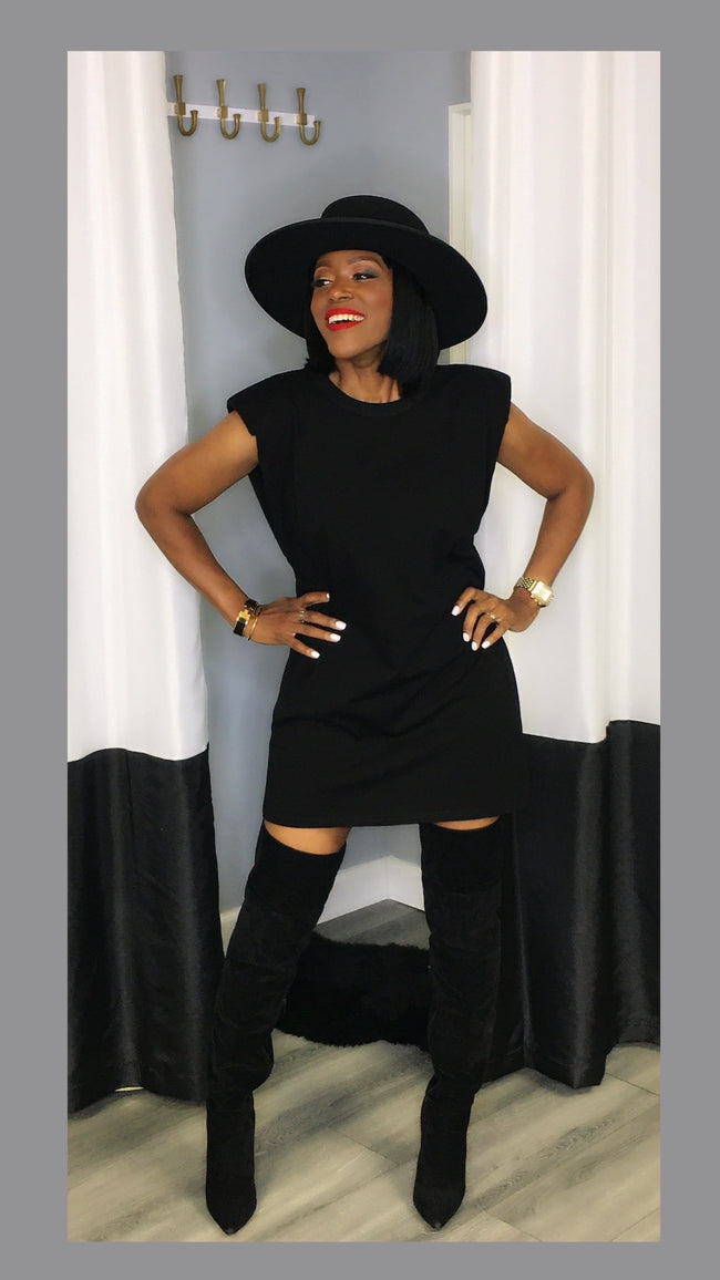 Sevyn Shoulder Pad Black Tunic Dress:FINAL SALE