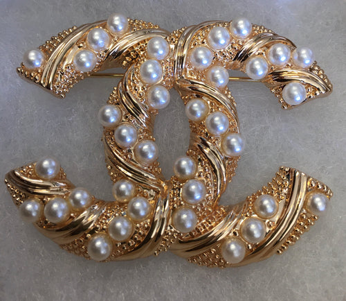Amy Pearl Double CC Brooch