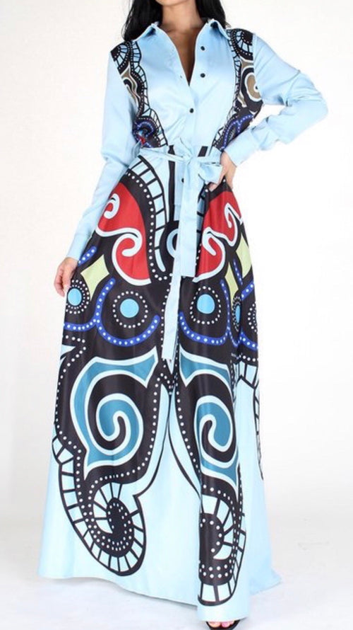 Whitney Blue Butterfly Maxi Dress