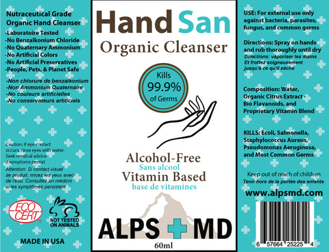 Alps MD HandSan Organic Alcohol-Free Hand Cleanser 60ml