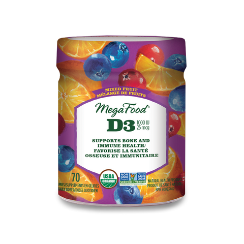 MegaFood Vitamin D3 Wellness (1000 IU) Mixed Fruit Gummies (70 Gummies)
