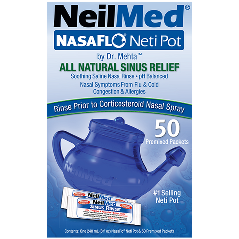 NeilMed NasaFlo Neti Pot (Clear Design) Kit w/ 50 premixed packets
