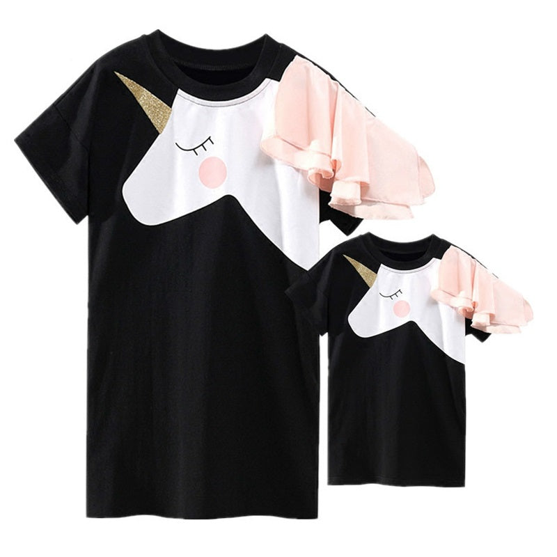 Mother - Daughter Matching Unicorn Dress T-shirts