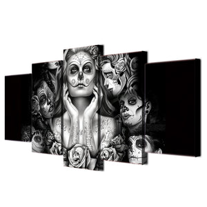 Day of the Dead Face 5 piece canvas