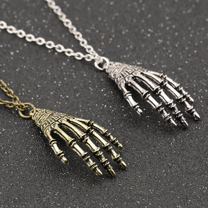 Set of 2 Skeleton Hand Bone Necklaces