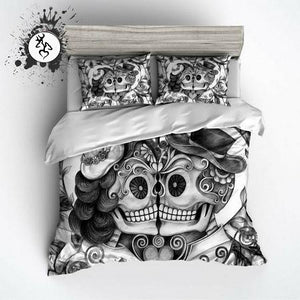PENCIL SKETCH ROSE COUPLE SUGAR SKULL BEDDING