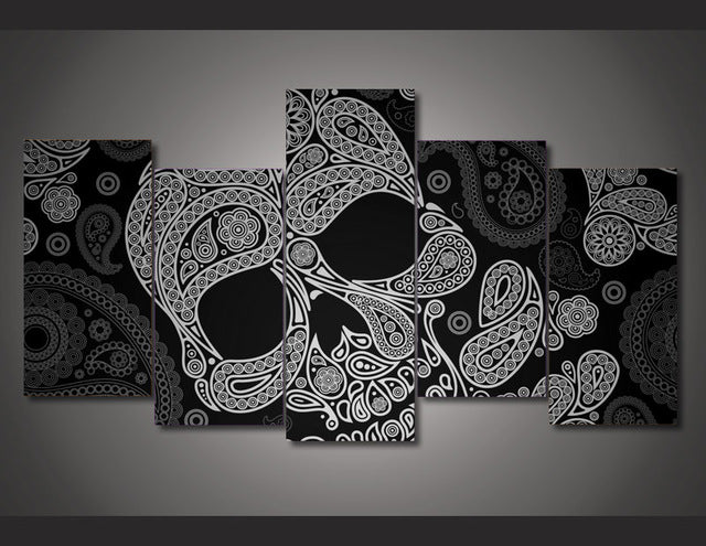 Art Skull Abstract Canvas 5 Pieces