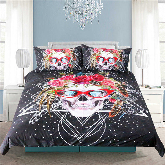 Sugar Skull with Glasses Bedding Set - 3 Pieces