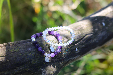 Grape Amethyst Bracelet paired with the Crystal Swarovski Bracelet
