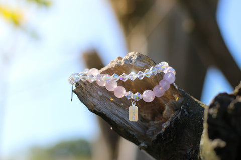 Rose Quartz Bracelet Paired with Crystal Swarovski Bracelet