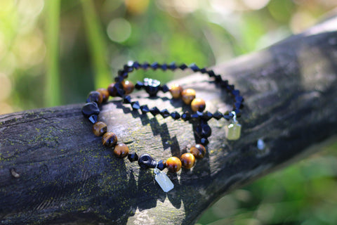 Tiger Eye Bracelet paired with Jet Swarovski Bracelet