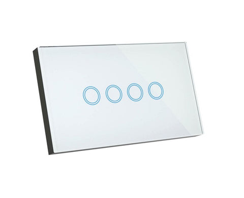 Quad RF Smart 4 Gang Switch, Smart Home Broadlink RM Pro Glass Touch 4g