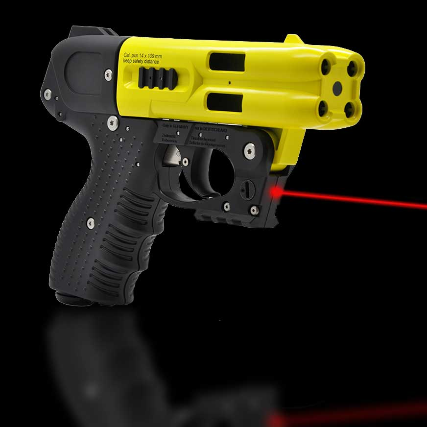 JPX4 4 Shot Pepper Gun with Laser yellow