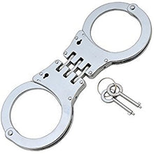 Double Lock Stainless Steel Hinged Handcuffs Silver