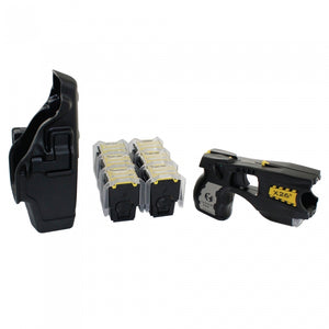 TASER X26c bundled package comes with laser sight, a long lasting lithium battery, six refill cartridges and a Blackhawk holster.