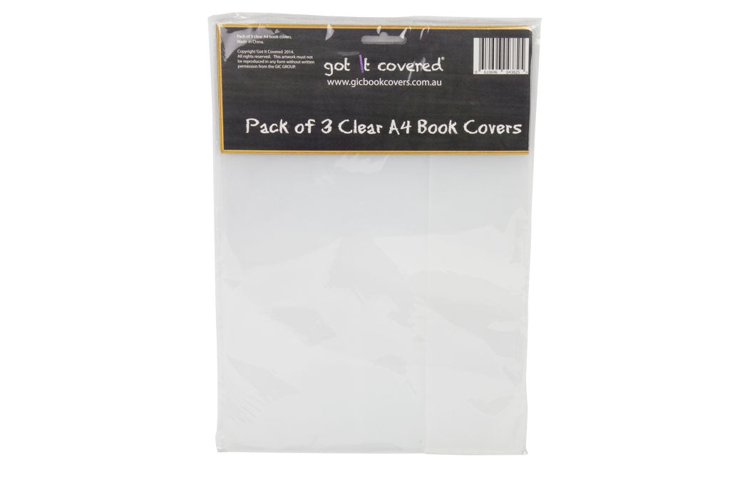 Book Cover - A4 - Clear pack of 3
