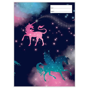 Book Cover - A4 - Sparkly Unicorn