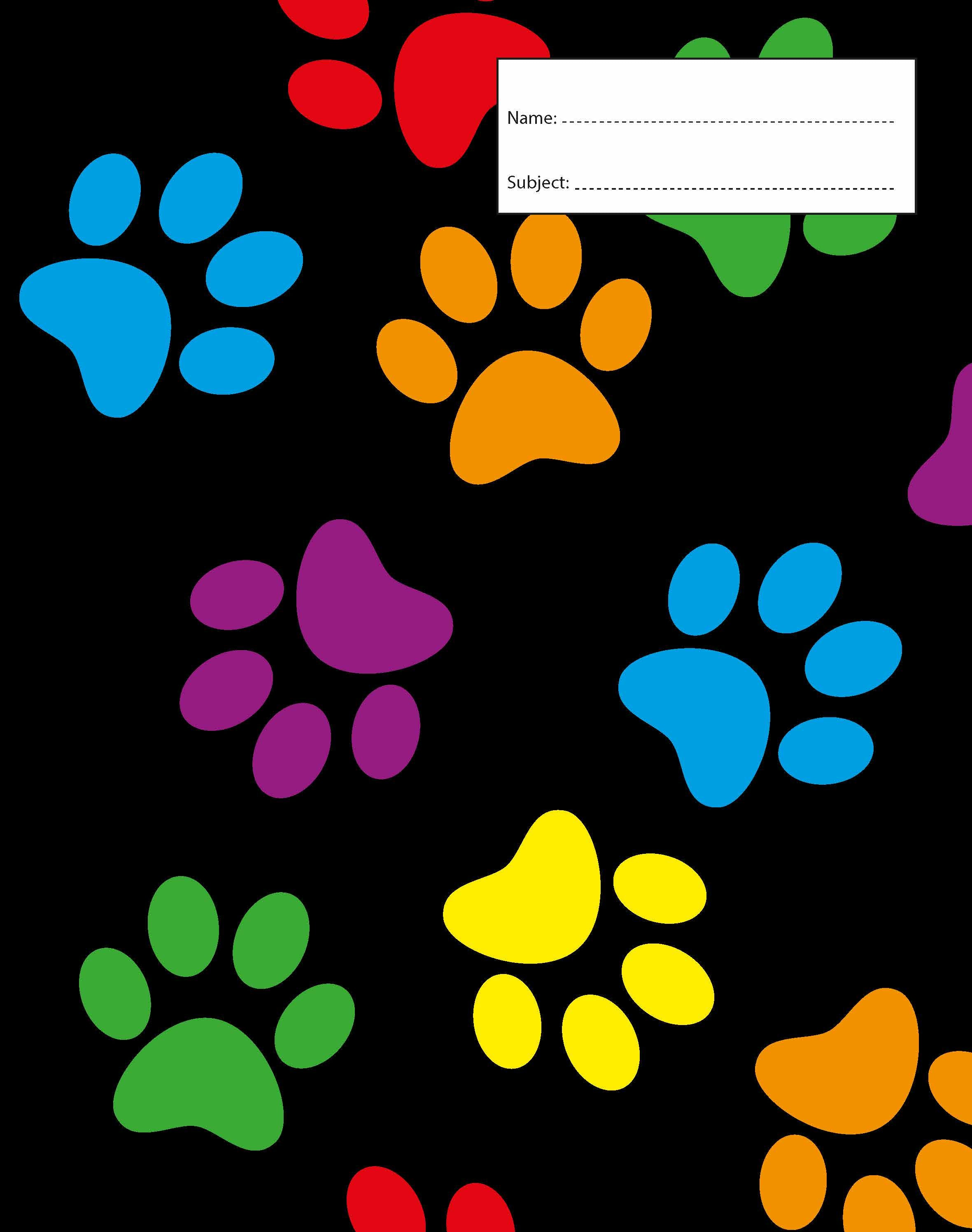 Book Cover - Exercise Book - Paw Prints