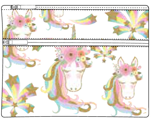 Pencil Case - Large 2 zip - Unicorn Star