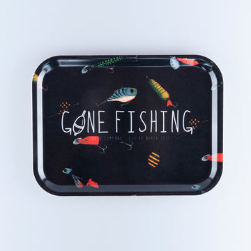GONE FISHING BRICKA 27X20CM - LURE BLACK