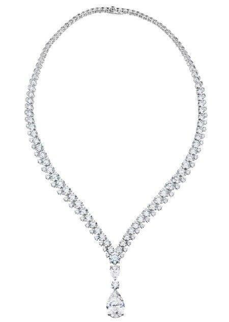 White gold 14k ladies pear with round cut 8.00 carats diamond necklace