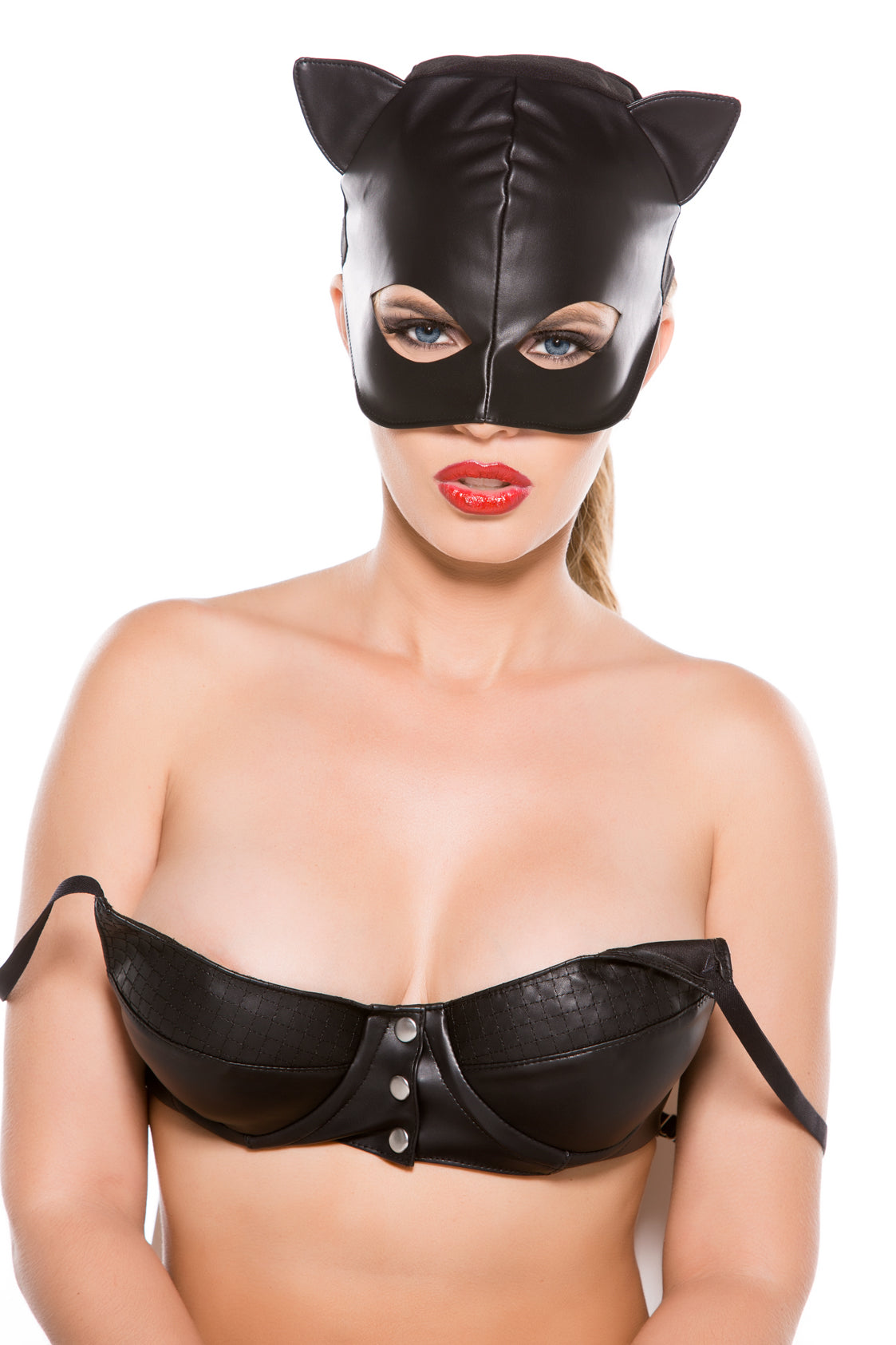 Allure Black Faux Leather Cat Mask O-s