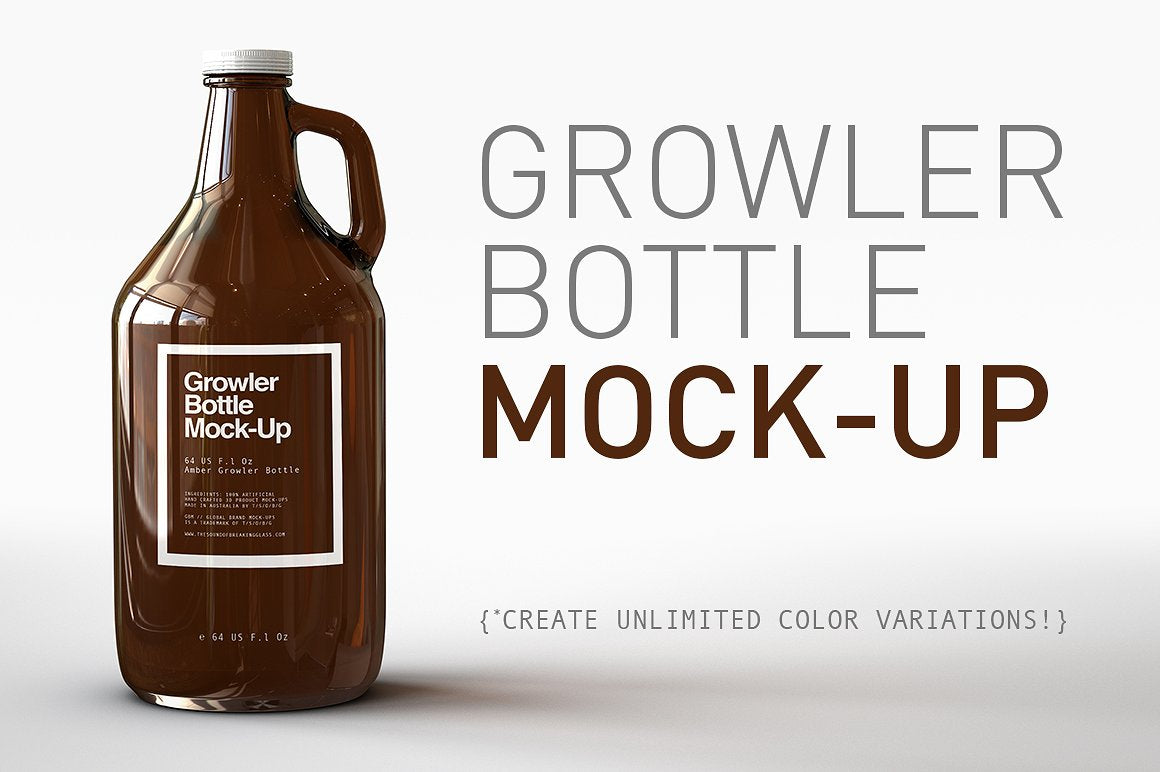 US 64 Oz Growler Beer Bottle Mock-Up