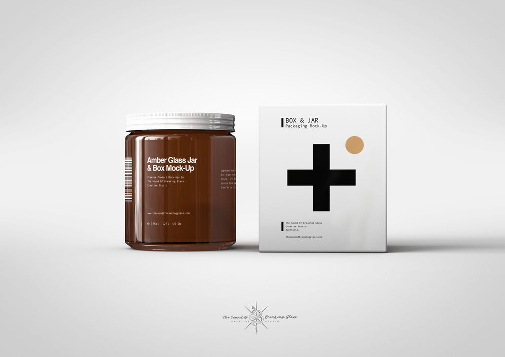 Brown Amber Glass | Food | Medical | Cosmetics Jar With Box Packaging Mock-Up