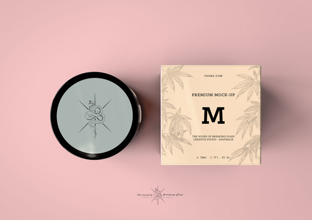 Amber Cosmetics Pot & Box Mock-Up | Amber Apothecary Glass Jar Mock-Up