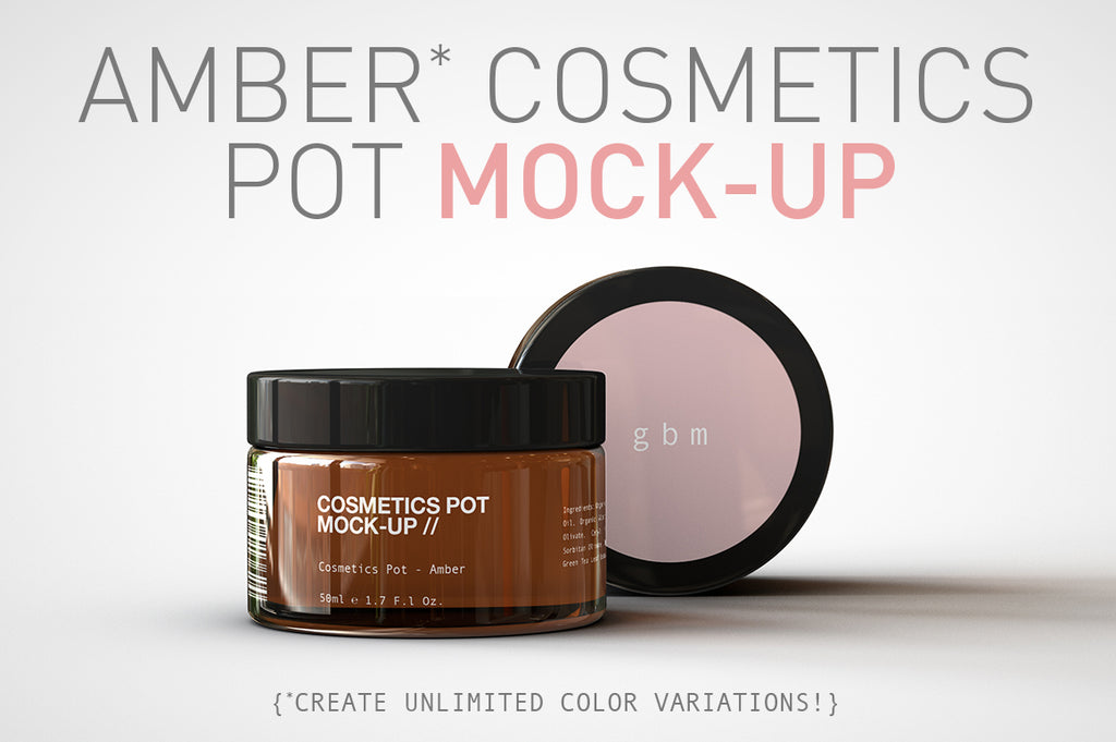 Amber Cosmetics Pot | Beauty Pot Mock-Up