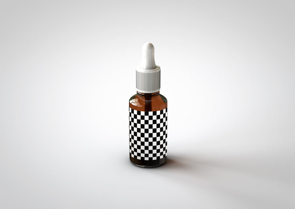 CBD Hemp Oil - Medical Marijuana | Dropper Bottle Mock-Up with Box Packaging - Amber Color & Cobalt Blue Bottle 30ml