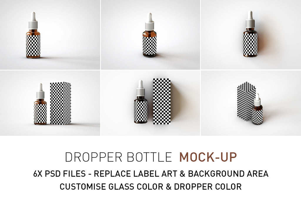 Amber Dropper Bottle Mock-Up With Box