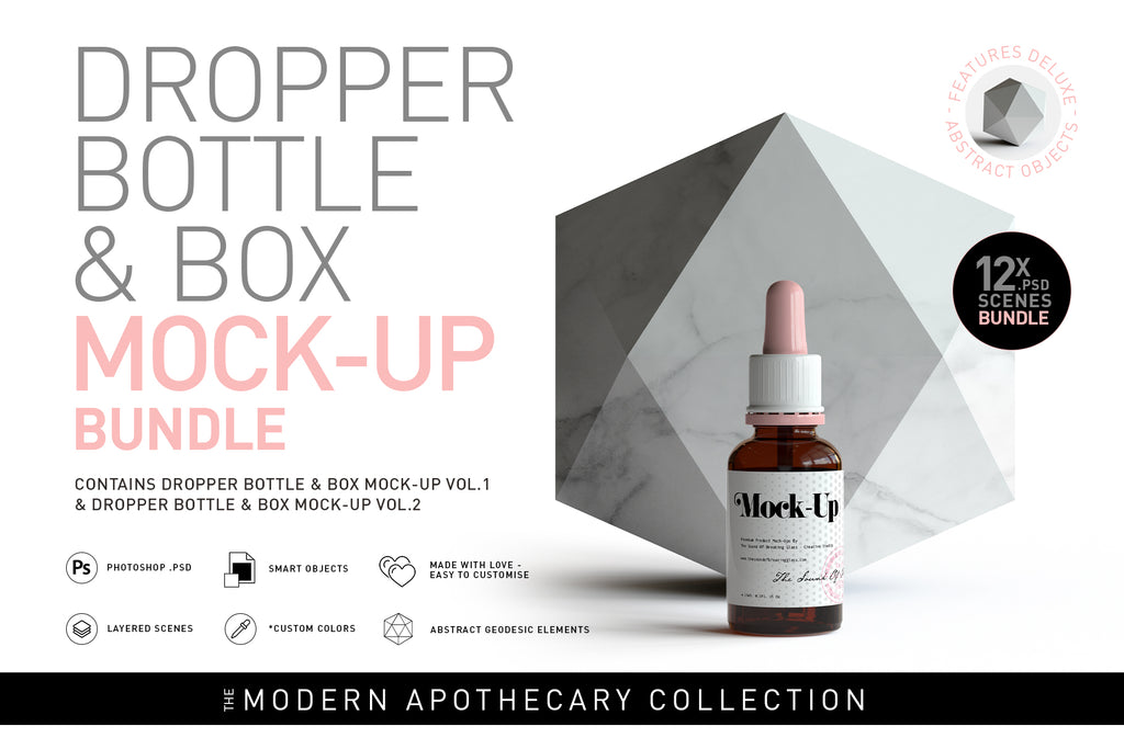 Amber Dropper Bottle & Box Mock-Up Bundle