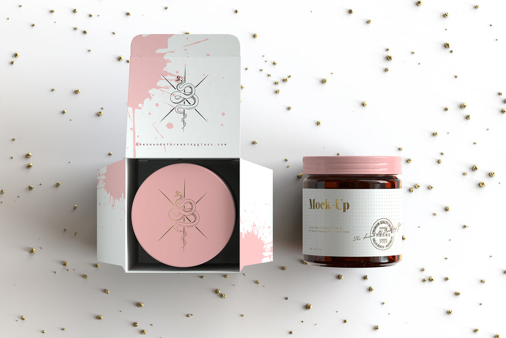 Amber Cosmetics Jar And Box Packaging Mock-Up
