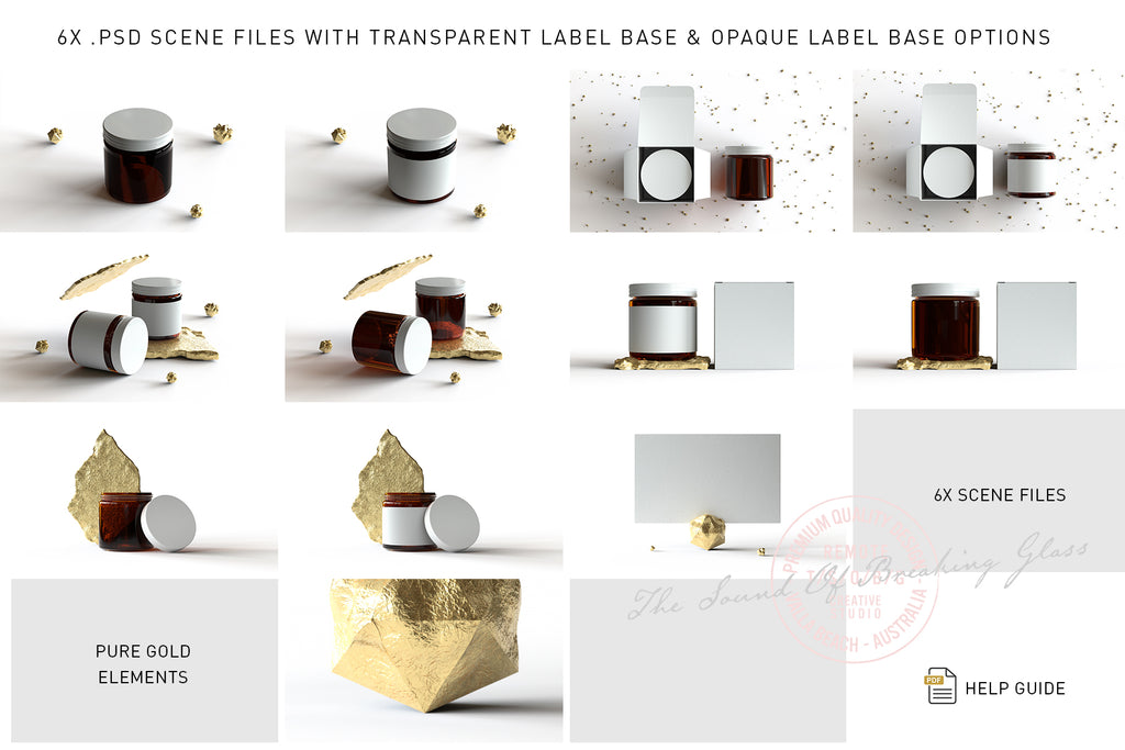 Amber Cosmetics Jar & Box Mock-Up - GOLD ELEMENTS VOL.2