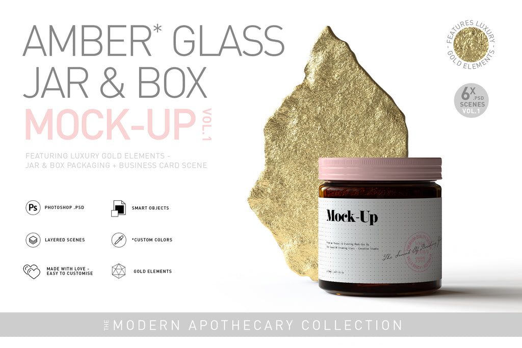 Amber Cosmetics Jar & Box Mock-Up - GOLD ELEMENTS VOL.1
