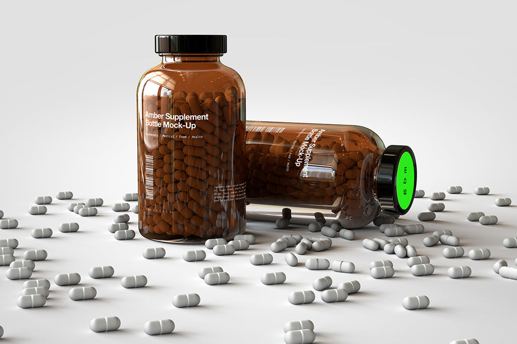 Amber Pill Bottle | Vitamins Bottle Mock-Up