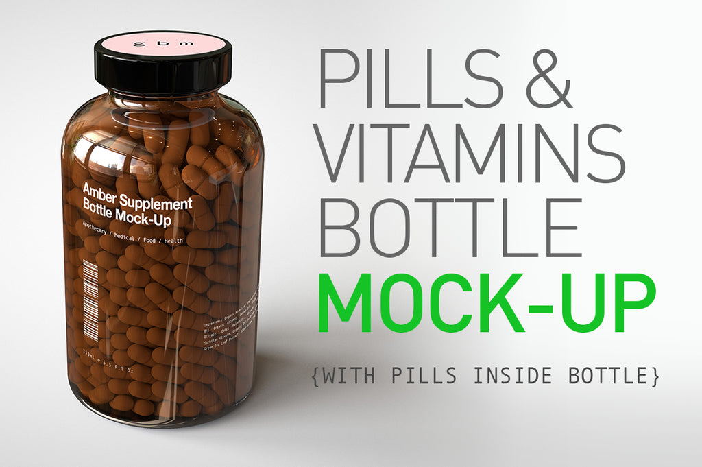 A shiny glass amber supplement/vitamins bottle mock-up full of pills on a white surface with an editable label on the front of the bottle and a sticker on the lid