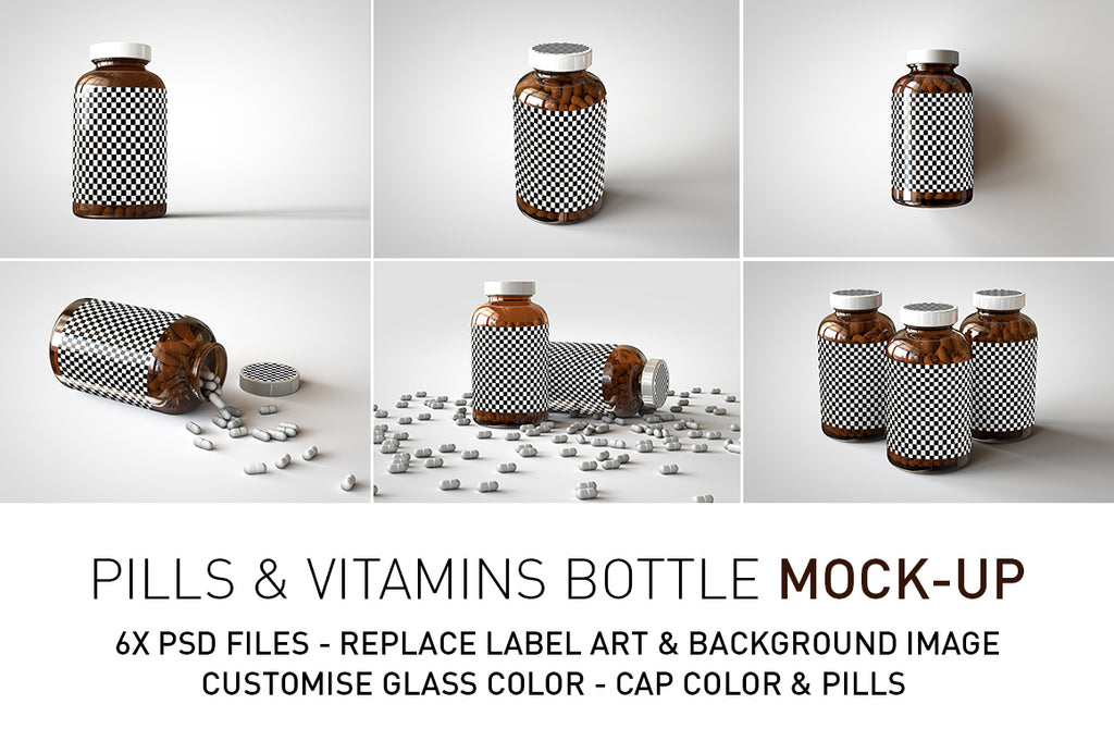 A grid of six images showing the various scenes and the editable surfaces a shiny glass amber supplement/vitamins bottle mock-up full of pills on a white surface with an editable label on the front of the bottle and a sticker on the lid