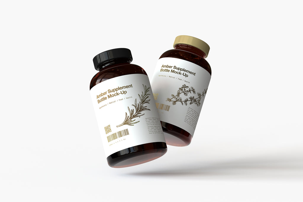 Amber Vitamins Bottle | Supplement Bottle Mock-Up