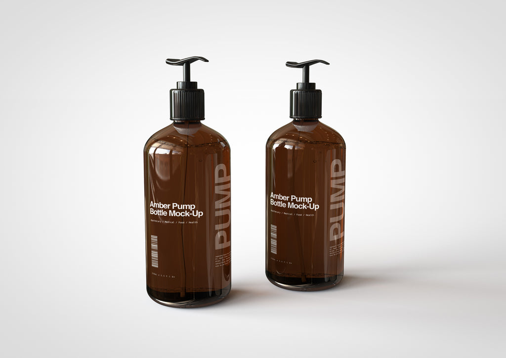 Amber Pump Bottle Mock-Up | Hand Cream Dispenser Mock-Up