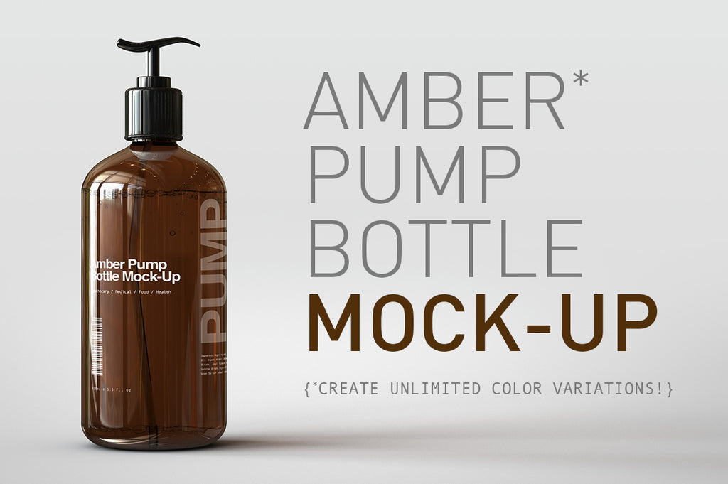 Amber Pump Bottle Mock-Up | Liquid Pump Bottle Dispenser Mock-Up
