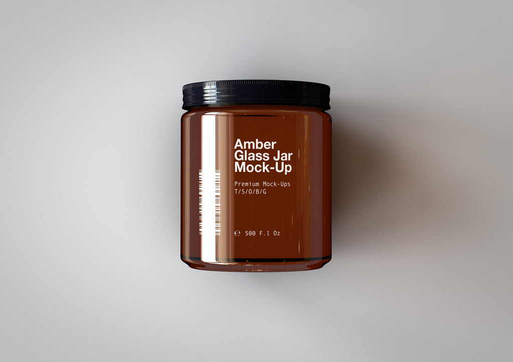 Amber Glass Jar - Cosmetics Pot Mock-Up