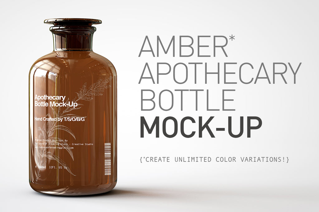 Amber Glass Apothecary Bottle | Jar Mock-Up | Miron Glas Viollet