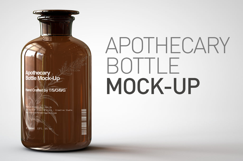 Amber Glass Apothecary Bottle | Jar Mock-Up