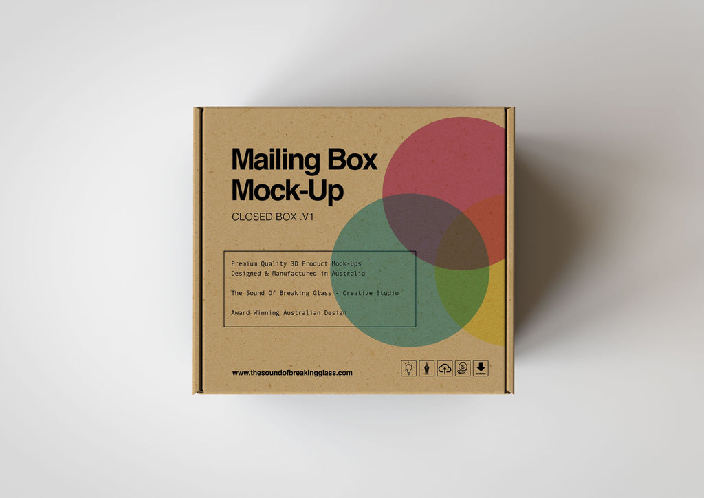 Brown Craft Paper Cardboard Mailing | Shipping Box Mock-Up - Cardboard Box sitting on Plain Background