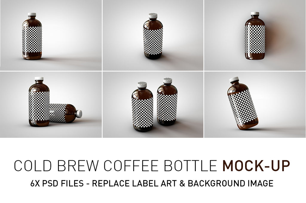 Cold Brew Coffee Bottle Mock-Up | Squealer Bottle Mock-Up