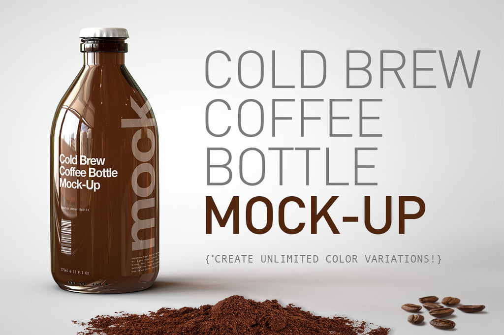Cold Brew Coffee Bottle Mock-Up | Stubby Beer Bottle Mock-Up
