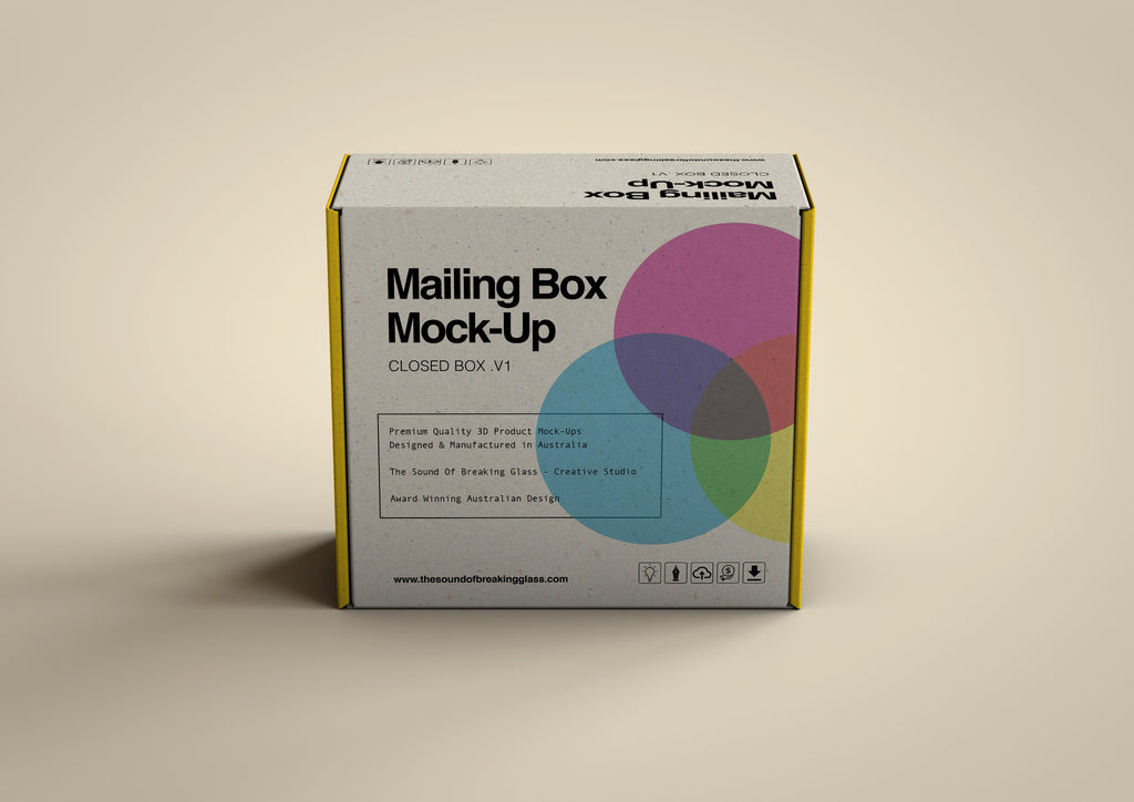 White Cardboard Mailing | Shipping Box Mock-Up - Cardboard Box sitting on Plain Background