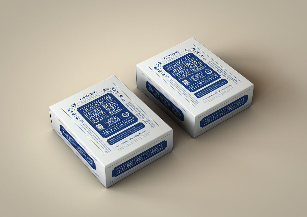 Deluxe White Box Mock-Up | Small Box Packaging Mock-Up
